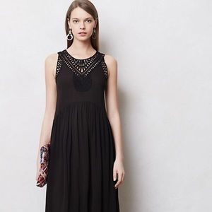 Anthropologie Mermaid Black Macrame Maxi Day Dress